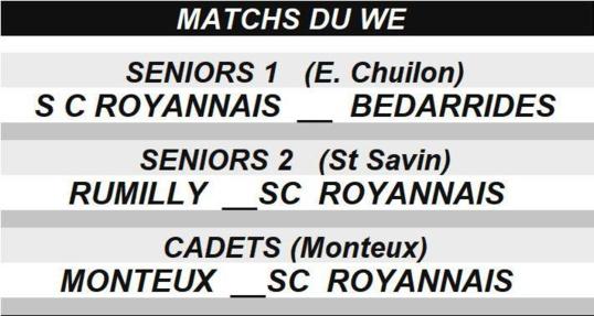 Matchs du WE au SCR