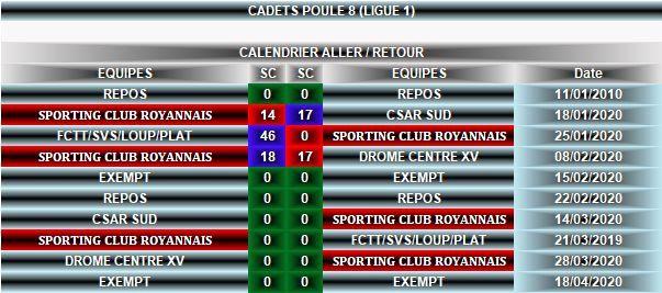 Calendrier Cadets